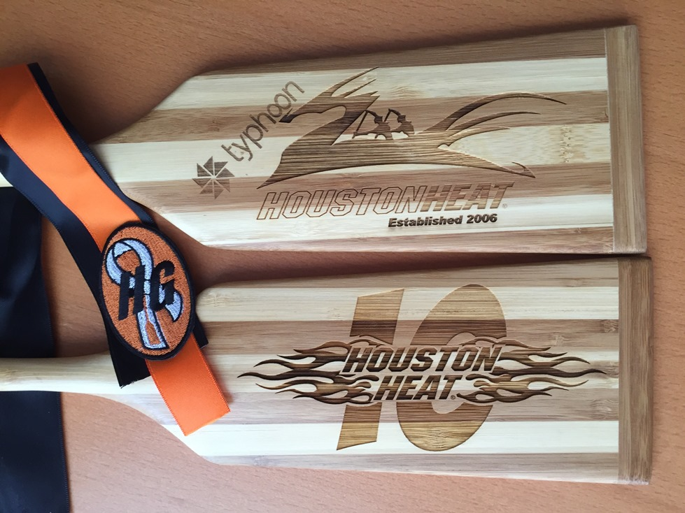 Front And Back Of The Miniture Paddle Gifted To Each 2016 HH Coaches From A Long Time Heater